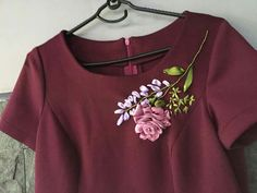 Flower Embroidery Designs, Ribbon Embroidery, Embroidery Patterns, Modest Fashion, Fashion Outfits, Embroidery Online, Ribbon Art, Stitches, Clothes