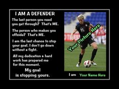 Personalized Custom Soccer Confidence Poster, Defender Wall Art, Daughter Wall Decor, featuring the picture and name of your choice. This ready-to-frame poster is printed to order on heavyweight satin photo paper. When placing your order, enter the desired name in the space provided. Soccer Motivation, Motivation Wall, Personalized Posters, Personalized Wall Art, Motivational Wall Art, Soccer Quotes, Quote Posters, Inspirational Gifts, Order Prints