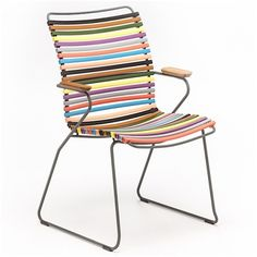 Dining chair, CLICK SYSTEM, tall backrest, resin and steel, outdoor, by HOUE