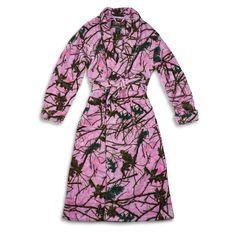 nice Womens Coral Fleece Pink Camo Comfortable & Plush Lounge Gown & Belt-Sleepwear-Leisure