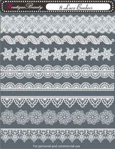 Mélange de DIY Design elements - 8 Lace Borders - 300 dpi---(set 10). $2,00, via Etsy.