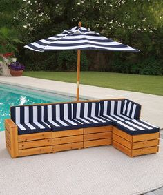 After a long day of running around outside, sometimes a kid just needs to kick back. This lounge-worthy sectional set is made from weather-resistant wood and is just the thing for relaxing. The five sectional pieces can be separated for different arrangements or locked in place with the included hardware. A matching umbrella provides convenient shelter from the midday sun. Includes five sect...