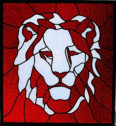 Stained glass Lions Head by AGlassMenagerieEtc on Etsy