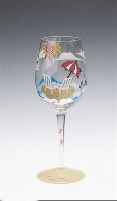 """Life's a Beach"" Handpainted Wine Glass $16.99"