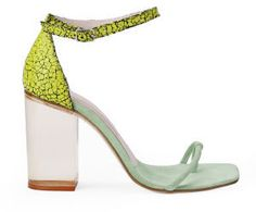 Opening Ceremony Women's Jindo Ankle Strap Leather Heeled Sandals Tetra/Mint