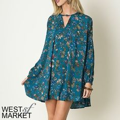 "-NEW ARRIVAL-  Teal Floral Tunic Flowing tunic in a beautiful teal floral print! A boho style with just the right amount of edge, this tunic is perfect for spring! Measurements: Small- size 2/4, bust: 35-36"", waist: 27-28"", hip: 36-37""; Medium: size 6/8, bust: 37-38"", waist:29-30"", hip: 38-39""; Large: 10/12, bust: 39-40"", waist: 31-32"", hip: 40-41"". West Market SF Dresses Mini"