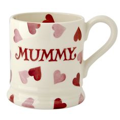 """Mothers Day"" Pink Hearts Mummy 1/2 Pint Mug at Emma Bridgewater"
