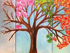 Items similar to That Which Stays the Same - Tetraptych Canvas) Original Oil Four Seasons Tree Colorful Leaves on Etsy Tree Canvas, Diy Canvas, Canvas Wall Art, Diy Painting, Painting & Drawing, Art Plastique, Tree Art, Painting Inspiration, Diy Art