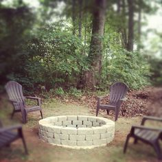 Finally!  Our firepit my husband built for me!