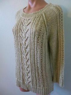 Liz Claiborne sz M Green Cable Knit Open Weave Sweater Sparkle Tiny Sequin  #LizClaiborne
