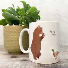 Ceramic ey up duck bear and duck illustration mug – And so to Shop Duck Illustration, Perfect Cup, Nottingham, New Home Gifts, Recyclable Packaging, Gifts For Him, White Ceramics, Unique Gifts, How To Draw Hands