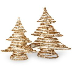 National Tree Company Rattan Christmas Tree Table Decor 2-piece Set ($108) ❤ liked on Polyvore featuring home, home decor, holiday decorations, gold and national tree company