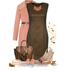 Tiger of Sweden ELICIA Shift dress (bronze)/coral coat, necklace and earrings/python bag