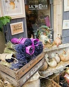 Les Baux-de-Provence, France - should maybe consider selling lavender bouquets in a vintage crate! Luberon Provence, Provence France, Provence Style, Lavender Fields, Lavander, Lavender Blue, Lavender Flowers, Southern France, Shop Fronts
