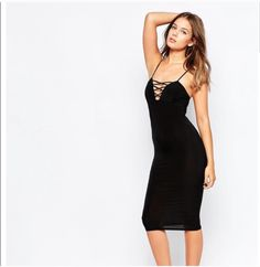 f61a4a453f3 ... Club L Stretch jersey Plunge neckline Strappy front detail Close cut  bodycon fit Machine wash Polyester