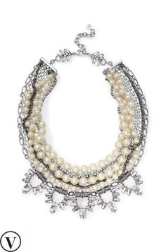 The most elegant and classic statement necklace yet, the Starlet Pearl Necklace combines hand-strung glass pearls and chic sparkle strands.