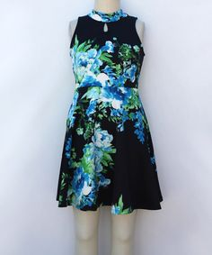 Look at this #zulilyfind! Navy & Green Floral Skater Dress - Girls #zulilyfinds