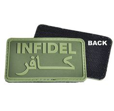 Hazard 4 Infidel Morale Patch with velcro backed polymer that reads 'Infidel' in English and in Arabic, a humorous patch ideal for airsoft teams.