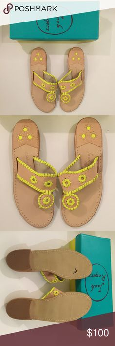 NWT BEIGE & YELLOW JACK ROGERS - Size 8M NWT BEIGE & YELLOW JACK ROGERS - 8M.  NWT $100. CURRENT RETAIL $118. These casual flat sandals feature a beautiful leather upper on a stacked leather heel. A fun look for summer!These are is handmade and each one has the size handwritten in the upper. Half sizes are noted with the numerical size plus a dash. Brand new with box. $85 ON MERC w shipping included. 1-in. L Slip-on Leather Imported Jack Rogers Shoes