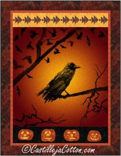 Raven panel with pieced bird blocks and appliqued jack o' lanterns. Halloween panel quilt pattern. Halloween Patterns, Panel Quilts, Dream Big, Raven, Quilt Patterns, Lanterns, Applique, Bird, Ravens