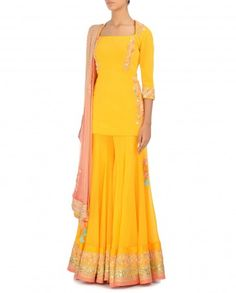 Embroidered Poppy Yellow Sharara by Madsam Tinzin