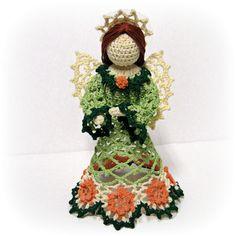 Rosheen #Irish #rose #crocheted #angel figurine, #handmade by #CaraLouise at #HeritageHeartcraft thread crochet angel