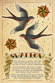 Ive had plenty of life experiences, some not by choice, but enough to earn me two swallows !! Swallow Tattoos by ~Chronoperates on deviantART