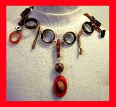 Choker with Red Resin Hoop with Goldstone Scarab by wildbraidart, $119.00