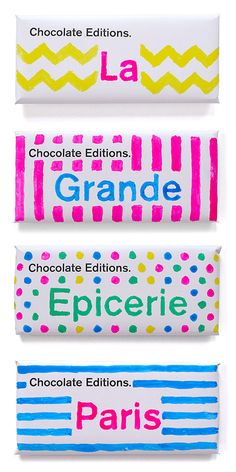 Chocolate Editions Paris - This fun and bright chocolate packaging was launched for Easter this year. The chocolates can be found at La Grande Epicerie in Paris, France. Each bar is wrapped in its own unique paper wrapper.