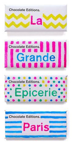 マーカーの手書き感がとてもかわいい、チョコレートのパッケージ。(via Chocolate Editions Paris)