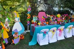 Alice in Wonderland / Mad Hatter theme party decorations available to rent from : Wonderland Party Props