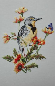 Hand Embroidery Patterns Flowers, Bird Embroidery, Embroidery Monogram, Hand Embroidery Designs, Embroidery Stitches, Embroidery Ideas, Lace Beadwork, Art Textile, Thread Painting