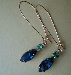 Swarovski Peridot and Vintage Sapphire earrings on French wires. $10.00.  Beautiful.  http://www.etsy.com/listing/119614728/swarovski-peridot-and-vintage-sapphire#