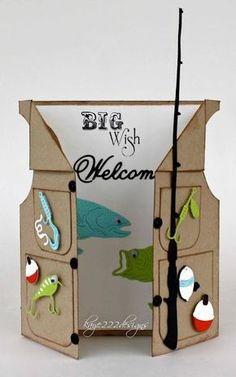 """Here you can open the vest. I used """"Circle Silver Stackers"""" for the opening of the arms. The actual size of the card is 5 x 6 inches. Cute lures, fishing pole and a worm are all included with the """"Fishing Set"""" Lots of fun details on the fishes! Masculine Birthday Cards, Birthday Cards For Men, Masculine Cards, Diy Birthday, Birthday Ideas, Male Birthday, Cricut Birthday Cards, Father Birthday, Birthday Gifts"""