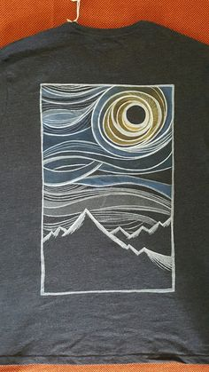 Hand-painted t-shirt Mountain and Sun Extra Large by AleTibaudin