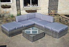 Rattan Outdoor Modular Aluminium Corner Sofa Set Garden Furniture 3 Colours