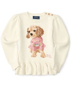A peplum hem and an intarsia-knit pup at the front make this soft cotton sweater from Ralph Lauren as sweet as your little one, while three buttons at the shoulder allow for easy dressing. | Cotton |