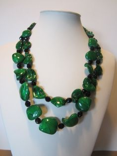 Green  necklace with green stripe mother of pearl and  by yasmi65, $32.00
