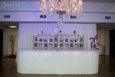 A beautiful setup with our new White Damask Bar - White Top Event Planning, Wedding Planning, White Damask, Wedding Events, Chandelier, Ceiling Lights, Bar, How To Plan, Elegant