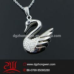 charming custom design stainless steel jewelry shining crystal swan pendant