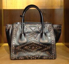 Leather bag with metal stud by @Prada #Prada #leather #bag #MetalStud #FolliFollie #FW14collection