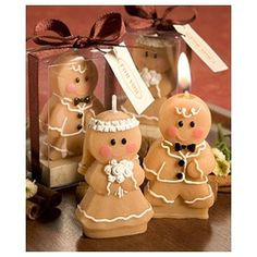 "Add some sweet character to your table setting with these adorable gingerbread bride and groom candle favors. This set of candles features the sweet happy couple, a gingerbread groom and gingerbread bride accented with white ""frosting"" details. Wedding Favors And Gifts, Winter Wedding Favors, Candle Wedding Favors, Candle Favors, Candle Set, Wedding Ideas, Wedding Cake, Candle Craft, Party Wedding"