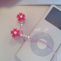Sweet Tiny Pink Coral earbuds with swarovski crystals