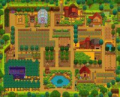 Summary of Lavender Farm by Nikki (Stardew Valley) Stardew Farms, Stardew Valley Farms, Stardew Valley Layout, Terraria House Ideas, Stardew Valley Tips, Green Carnation, Farm Layout, Farm Games, Farm Plans
