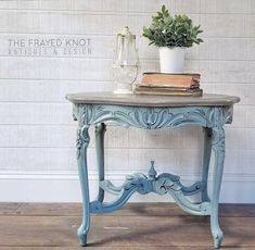 Persian Blue Table Accented with Van Dyke Brown Glaze Effects | General Finishes Design Center