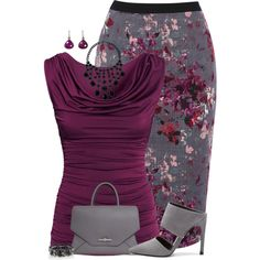 "Love the top and the pattern of the skirt! ""Floral Pencil Skirt"" by maggiesuedesigns on Polyvore"