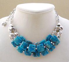 Bright Blue Statement Necklace Triple Strand by BigSkiesJewellery