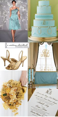 7e0bd30d1cb4 Elegant Light Aqua Blue and Gold Wedding Colors