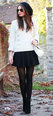 accordion skirt + sweater