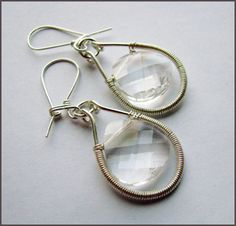 Crystal Drop Earrings from Wire Sculpture